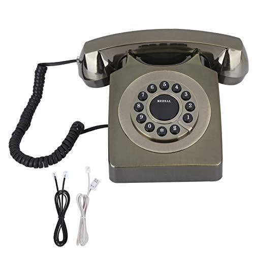 Decoración para el Hogar con Teléfono Antiguo, Teléfono Multifunción Vintag para el Hogar Europeo, Llamada de Alta Definición, Botón Transparente Grande(Cobre)