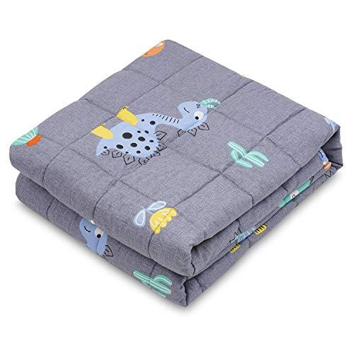 RECYCO Kinder Gewichtsdecke 2,3kg 90x120cm Schwere Decke aus Baumwolle mit Glasperlen Therapiedecke Schlafhilfe Stressabbau für Kinder und Jugendliche (Dinosaurier)