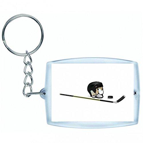 Druckerlebnis24 Schlüsselanhänger - Eishockey- Puck- Hockeyschläger- Spiel- Helm- Spielen- Sport - Keyring - Taschenanhänger - Schlüsselring