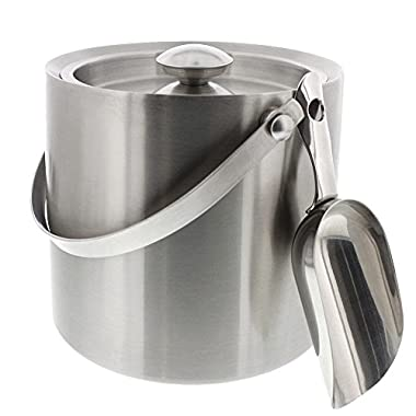 Stainless Steel Double Walled Ice Bucket with Scoop - Barware Serveware for Parties Events Gatherings, 6.6H x 7.5W Inches
