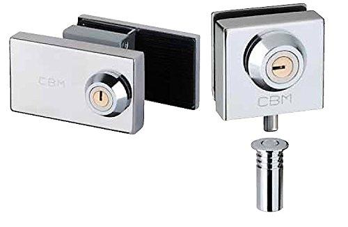 Cerradura suelo y cerradura media altura CBM para puerta de cristal. Misma llave.