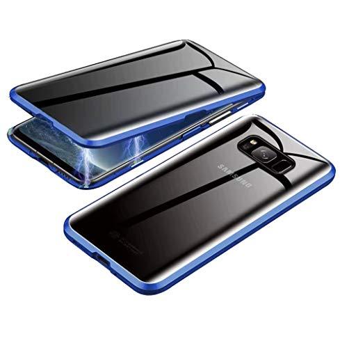 SiGrid Anti-Spy Funda para Samsung Galaxy S8, Magnética Cubierta Vidrio Templado Frontal y Posterior Case Marco Metal Anti Espía Privacidad Cubierta Protección 360 Grados Case, Azul