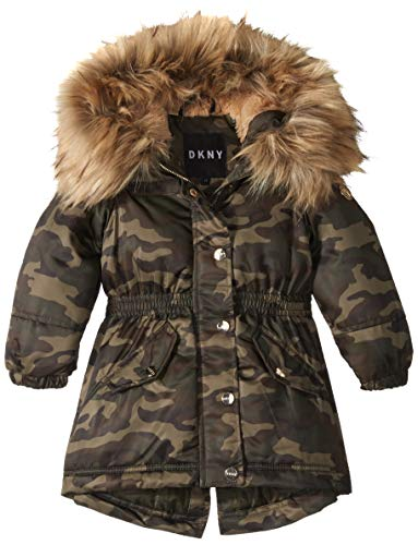 DKNY Girls' Big Long Anorak Jacket, Camo/Natural, 14/16
