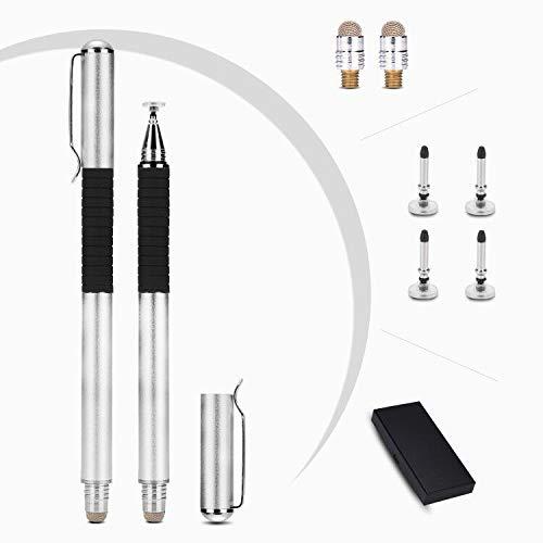 VABNEER Capacitive Stylus Pen 2 Pack Touch Screen Pen met 4 vervangende schijven en 2 Micro-Knit Hybrid Fiber Tips Geschikt voor schrijven, tekenen, notities maken, Spelletjes spelen (zwart), ZILVER