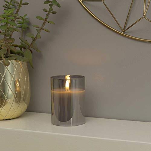 Festive Lights Echtwachs LED Kerze mit 3D-Echtflammen-Effekt – Weltneuheit 2019 - unglaublich echte Flamme mit brennenden Dochteffekt, batteriebetrieben - EXKLUSIV (Grau im getönten Glas, 10cm S)