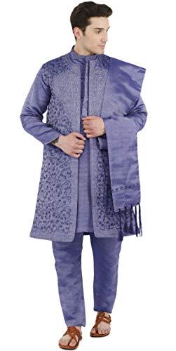 SKAVIJ Herren Besticktes Kurta Pyjama Jacke und Stola Hochzeitsfeier Kleid Set (Blau, M)