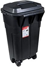 Rubbermaid Roughneck Heavy-Duty Wheeled Trash Can with Lid, 34-Gallon, Black, for Outdoor Use