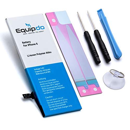 Equipdo Akku für iPhone 6 mit 1810mAh inkl Reparaturset für ordentlichen Austausch - Batterie Battery Ersatzakku