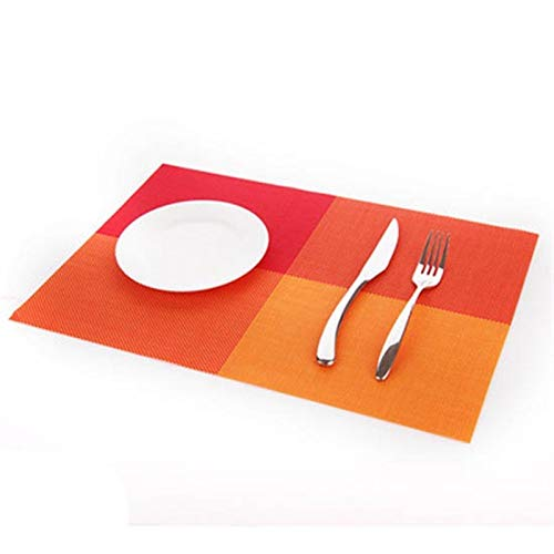4 Stück/Set Tischset PVC Table Mat Farbblock Restaurants Disc Pads Coasters 30 * 45cm Teller Bar (Farbe : Orange)