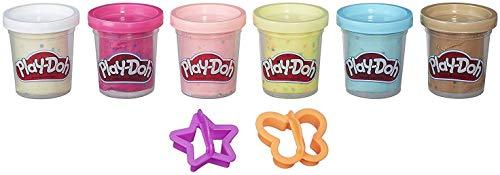 Play-Doh B3423EU4 Konfettiknete, 6 Dosen Knete mit bunten Konfetti-Streuseln mit 2 Ausstechförmchen, Multi (Farben Können Abweichen)