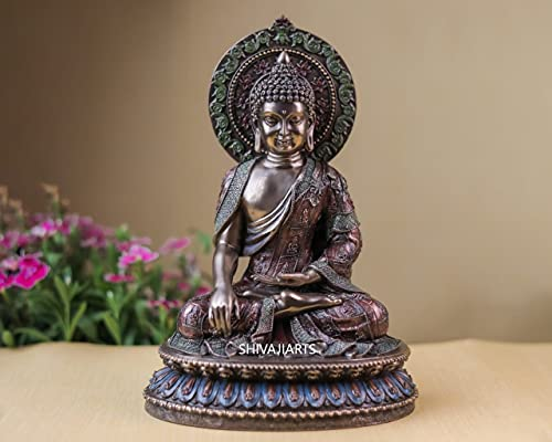 Ídolo de Buda, 27 CM Big Bonded Bronze Earth Witness Shakyamuni Buddha Statue, Siddharth Gautam, templo budista sala de meditación
