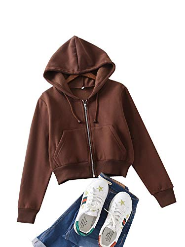 Floerns Women's Casual Long Sleeve Zip Up Cropped Hoodie Jacket with Pockets Chocolate Brown M