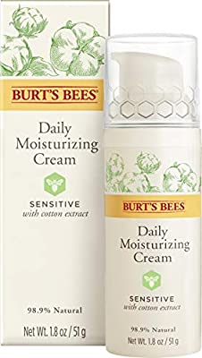 Burt's Bees 98.9% Natural Daily Moisturising Cream, Day Lotion Sensitive Skin Formula, 50 g
