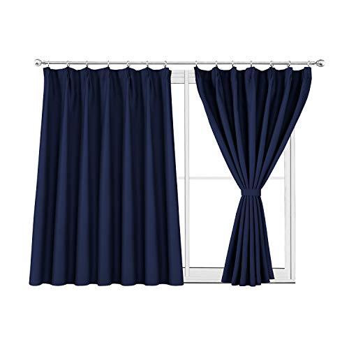WONTEX 1級遮光 ドレープカーテン 遮光カーテン 断熱 防音 昼夜目隠し 省エネ UVカット フック シンプル 2枚組 ネイビー 幅100cm丈110cm