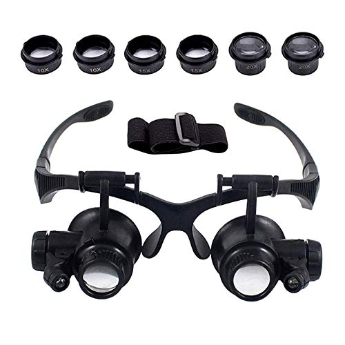 AORAEM Glasses Magnifier 10X 15X 20X 25X Headband Magnifying Glass Watch Repair Magnifer with 2 LED Lights for Jeweler Electronic Repair(#3)