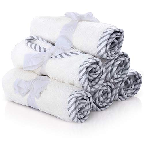 Premium Baby Washcloths – 100% Bamboo Baby Washcloth Set of 6 – Ultra Soft and Absorbent Baby Towels for Boys and Girls – Cute for Baby Boy or Girl by San Francisco Baby