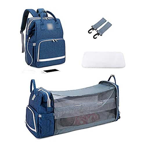 YYL Diaper Bag Backpack Foldable Baby Bed Back Pack with Changing Station, Waterproof Baby Cradle with Bassinet Stroller Straps