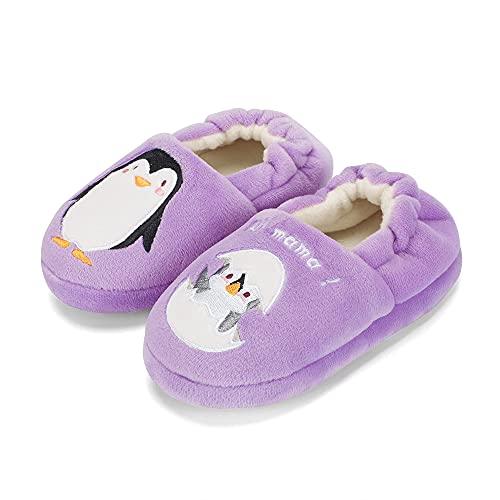 MASOCIO Zapatillas Casa Niña Invierno Zapatillas de Estar por Casa Andar Pantuflas Niñas Talla 22 23 Pingüino Púrpura