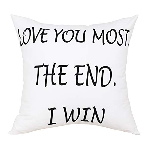 BLEUM CADE Love You Most The End I Win Decorative Throw Pillow Case Cushion...