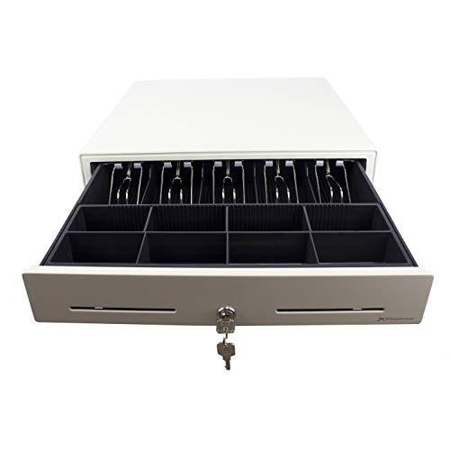 Phoenix Technologies - Cajón Portamonedas Eléctrico Automático para Dinero en Efectivo con Cerradura 5 Compartimentos de Billetes y 8 de Monedas (Blanco, 46 x 46cm)