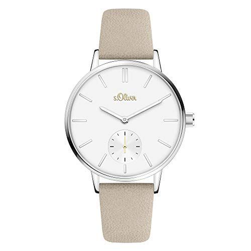 s.Oliver Time Damen Analog Quarz Uhr mit PU Armband SO-4341-LQ (Beige-Weiß)