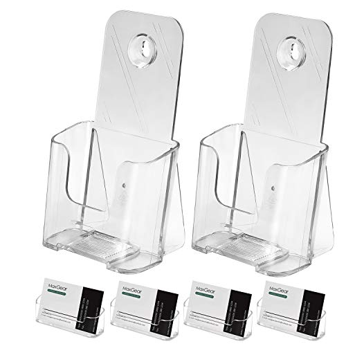 MaxGear 2 Pack Acrylic Brochure Holder, 4x9 inches Plastic Literature Holder, Clear Acrylic Countertop Organizer Flyer Holder with 4 Pack Acrylic Business Card Holder Plastic Business Card Display
