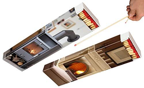 jameitop®🔥 2 Streichholzschachteln XXL Jumbo 28cm extra lang Kamin/Feuer Motive: 2x60er Packungen Kaminanzünder Streichhölzer Zündhölzer