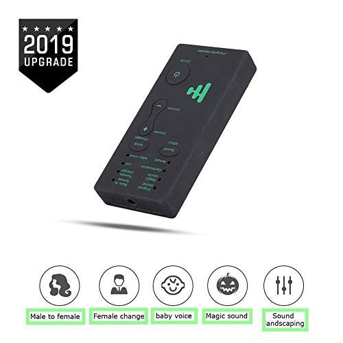 Tarjeta de sonido, mini cambiador de voz portátil Tarjeta de sonido de transmisión en vivo para PC de teléfono móvil (versión en inglés) 4 efectos de sonido y 4 cambios de voz Se pueden conectar al te