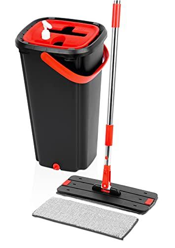 Magic Mop Set de 8 litros | Fregona sin contacto con 2 almohadillas de reemplazo | Juego Fregona con cubo | Cubo de Limpieza con mopa | Juego de Fregona | Mopa de Limpieza con escurridor