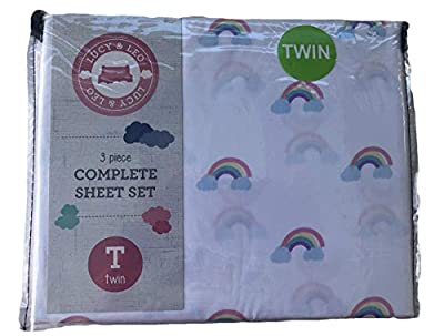 Lucy & Leo Twin Complete Bed Sheet Set- Unicorns, Rainbows or Sharks (Rainbows)