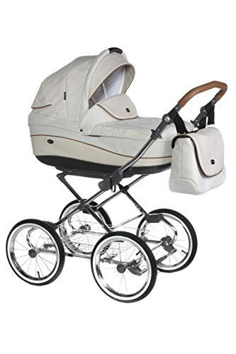 KINDERWAGEN BUGGY KOMBI KINDERWAGEN KLASSISCHER RETRO NOSTALGIE ROAN EMMA + XXL ZUBEHÖR PAKET (E-90 Light Beige Beige Leather, 2IN1)