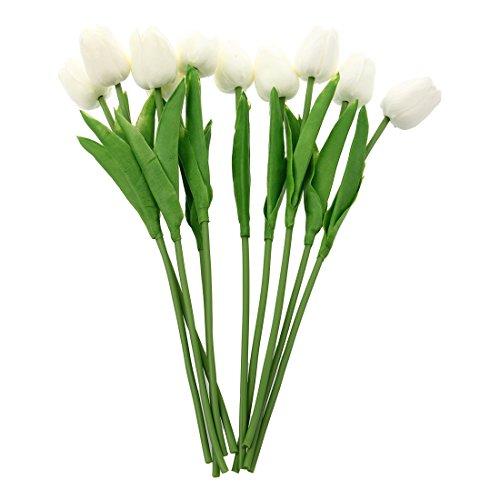 Sunsdew 10 Pezzi del Fiore del Tulipano Lattice Tocco Reale per Wedding Bouquet KC456 Bianco