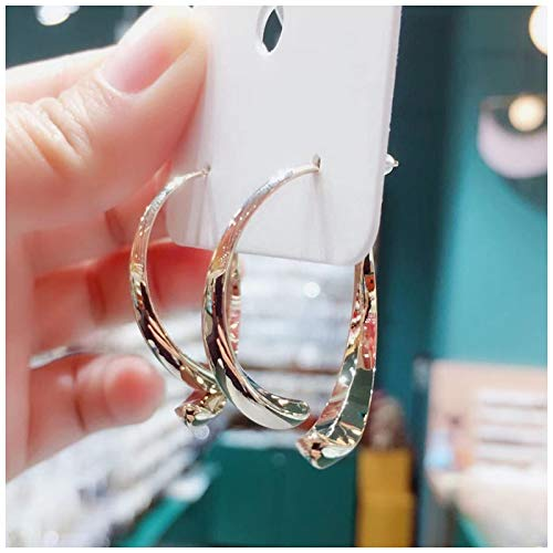 Finetoknow Simple Curved Earrings for Women Girls Wire Dangle Hoop Curved Studs Irregular Threader Circle Statement Hoops