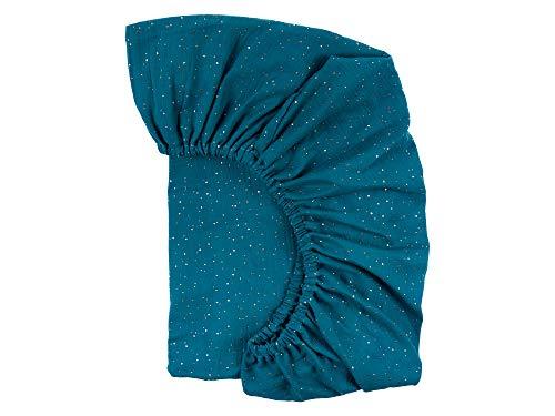 KraftKids Sábana bajera de muselina, puntos dorados sobre azul petróleo, 100% algodón, tamaño 140 x 70 cm, funda de colchón hecha a mano fabricada en la UE
