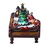 JIUYECAO Navidad resina piano iglúo decoración regalo, fibra óptica luces multicolor decoración pre-iluminado pintado a mano animado mesa conjunto de aldea de Navidad Santa Claus