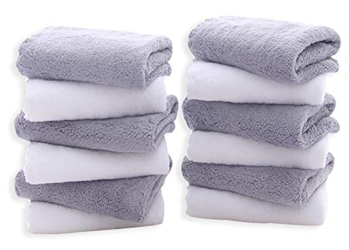 TENSTARS 12 Pack Premium Washcloths Set - Quick Drying- Soft Microfiber Coral Velvet Highly Absorbent Wash Clothes - Multipurpose Use as Bath, Spa, Facial, Fingertip Towel (Grey and White)