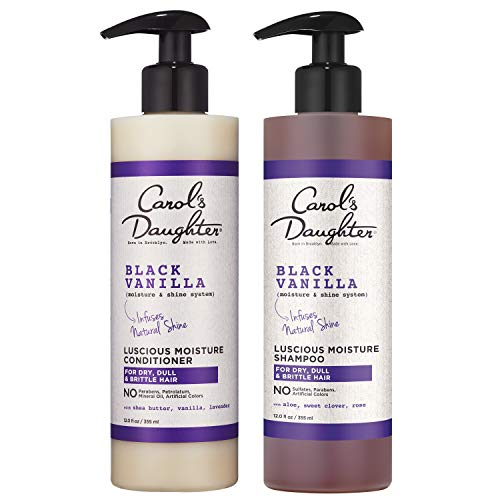 Carol's Daughter Black Vanilla Moisture & Shine Shampoo and Conditioner Set For Dry Hair and Dull Hair, Sulfate Free Shampoo and Hydrating Hair Conditioner (Packaging May Vary)