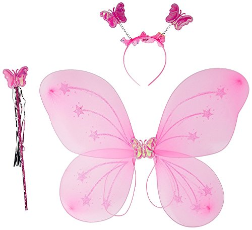 ROYALS Fairy Butterfly Wings Costume for Baby Girl Angel for Birthday Party (Light Pink Color)