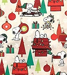 Peanuts Snoopy & Woodstock Theme Christmas Holiday Birthday Gift Wrapping Paper with Gridlines 60 sq ft.(1 Roll) (Bonus: FF Card Game) - Great Stocking Stuffer)