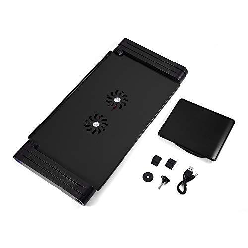 OCGDZ Laptop Desk Desktop Stand For TV Bed Sofa PC 360° Adjustable Folding Computer Desk Laptop Stand With Cooling Fan (Color : Black)