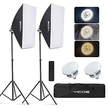 YICOE Softbox Lighting Kit Photography Photo Studio Equipment Continuous Lighting System with 5700K Energy Saving Light Bulb for Portraits Fashion Advertising Photo Shooting YouTube Video