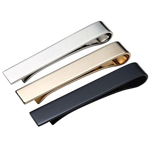 Zysta 3x Edelstahl Herren Dünn Skinny Krawattenklammer Set hochwetigen Business Hochzeit Krawattennadel Tie Clip Set, silber/gold/schwarz mit Geschenkbox (54mm*8mm)