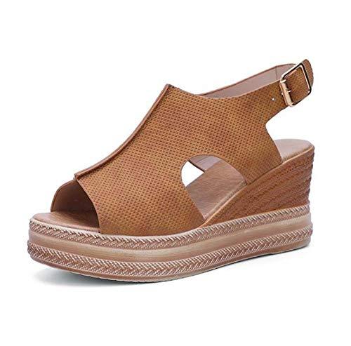 WODETIAN Sandalias de Vestir Sandalias Mujer Verano Plataforma Cuñas Alpargatas Esparto Cuña Zapato Hebilla Punta Abierta Comodas Chanclas Antideslizantes Zapatos de Playa,Marrón,38