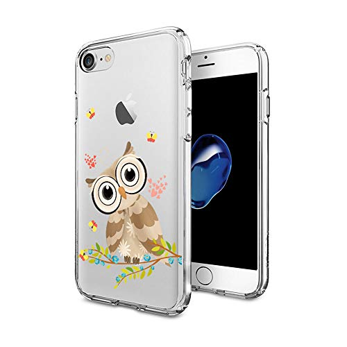 Cocomong Owl Phone Case Compatible with iPhone 8 Case Owl iPhone 7 Case for Girls Cool Clear Designer Decor Owl Gifts for Women Men Boy, Soft TPU Cover Protective Flexible Shockproof Silicone 4.7'