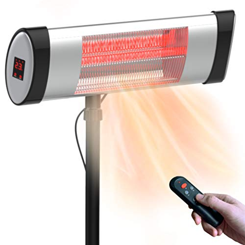 AMERICAN GEAR Outdoor Electric Patio Heater - Outdoor Electric Infrared Patio Heater for Winter - 120 Volt Portable Garage Heater - Weatherproof, Shut-Off Timer, 5100 BTU Output, Wall/Stand Mountable
