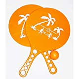 Lg-Imports Jeu de balles de plage 2 raquettes + 1 balle en kit pour plage et jardin Orange
