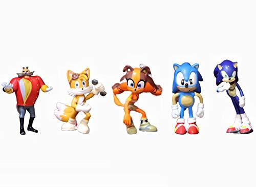 Juguetes Sonic 5 unids/set figuras sónicas juguetes figura de acción juguete Sonic Amy Tails Mephiles Knuckles juguete sónico para niña niño Robot
