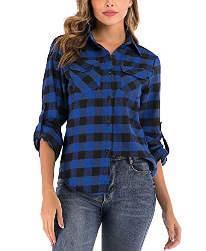 Enjoyoself Damen Karrierte Bluse Langarm Karo Flanell Hemden Baumwolle Button-down Hemdbluse für Alltag und Oktoberfest,Blau-Schwarz,M