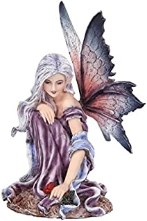 5.25 Inch Fairyland Purple Winged Fairy with Red Rose Statue Figurine