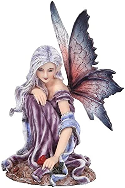 5 25 Inch Fairyland Purple Winged Fairy With Red Rose Statue Figurine